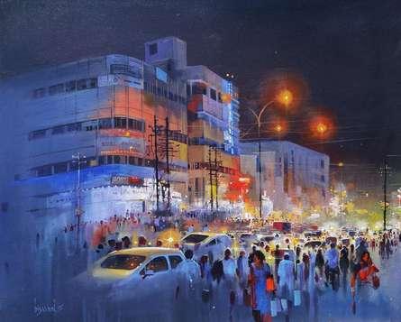 Raat Baaki II | Painting by artist Bijay Biswaal | acrylic | Canvas