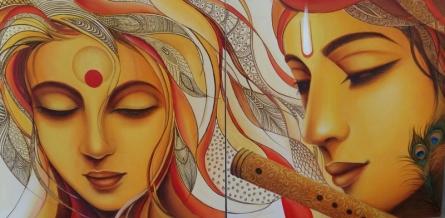 Figurative Acrylic Art Painting title 'Radhe Mohan' by artist Rakhi Baid