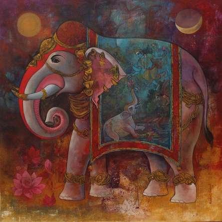 Animals Acrylic Art Painting title Gajendra by artist Rajeshwar Nyalapalli