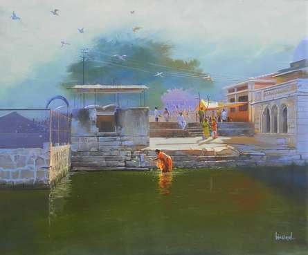 Cityscape Acrylic Art Painting title Ramtek by artist Bijay Biswaal