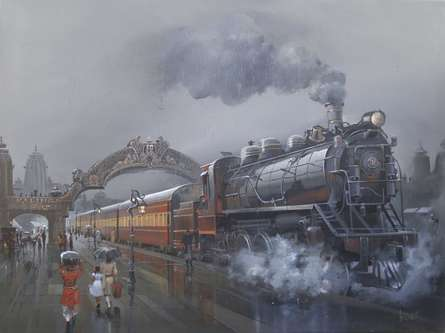 Cityscape Acrylic Art Painting title 'Retro Wet Platform' by artist Bijay Biswaal