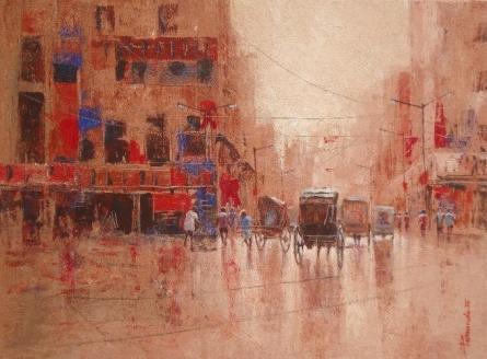 Cityscape Acrylic Art Painting title 'Rickshaw Puller In Kolkata I' by artist Purnendu Mandal