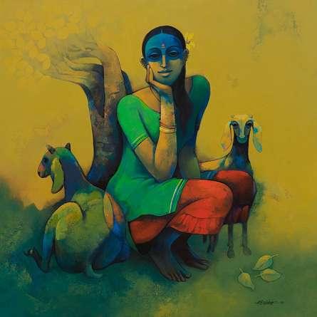 Figurative Acrylic Art Painting title Rural Life by artist Sachin Akalekar