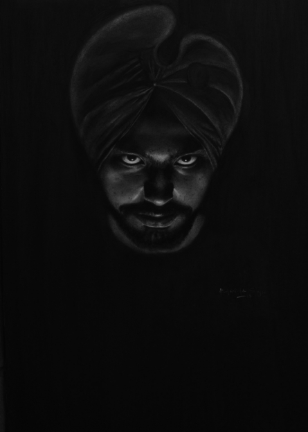 Portrait Charcoal Art Drawing title Self Portrait by artist Kulwinder Singh