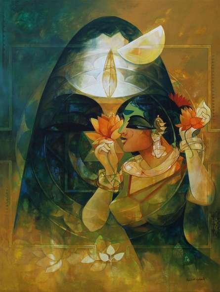 Figurative Acrylic Art Painting title Shakthi 2 by artist Rajeshwar Nyalapalli