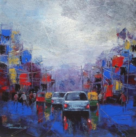 Strom In City | Painting by artist Purnendu Mandal | acrylic | Canvas