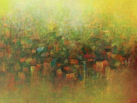 View Of A Village | Painting by artist M Singh | acrylic | Canvas