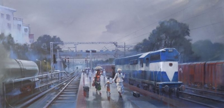 Cityscape Acrylic Art Painting title 'Wet Platform Baroda' by artist Bijay Biswaal