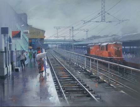 Cityscape Acrylic Art Painting title Wet Platform Nagpur by artist Bijay Biswaal