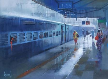 Wet Platform Nagpur II | Painting by artist Bijay Biswaal | acrylic | Canvas