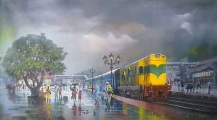Cityscape Acrylic Art Painting title Wet Platform Yellow Train by artist Bijay Biswaal