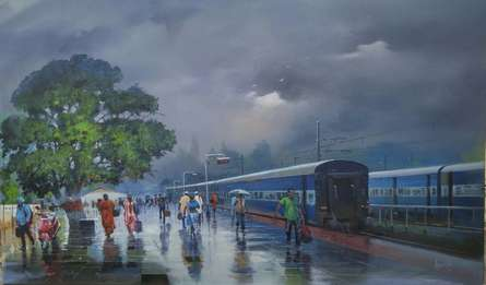 Cityscape Acrylic Art Painting title 'Wide Wet Platform II' by artist Bijay Biswaal