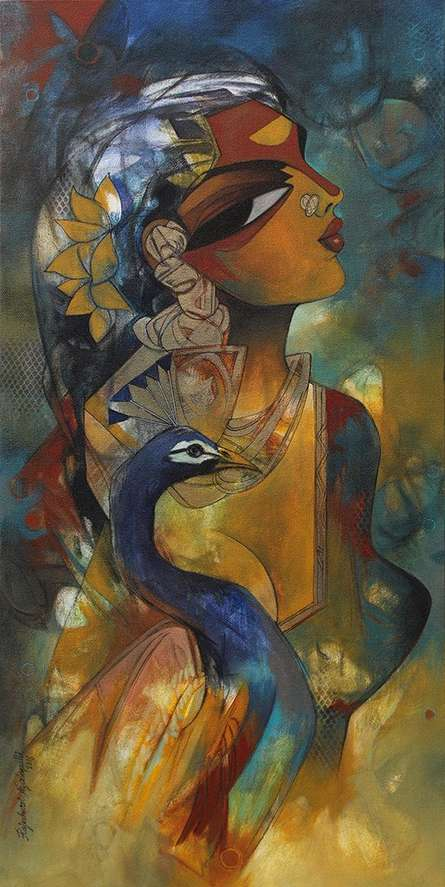 Figurative Acrylic Art Painting title Woman with Peacock by artist Rajeshwar Nyalapalli