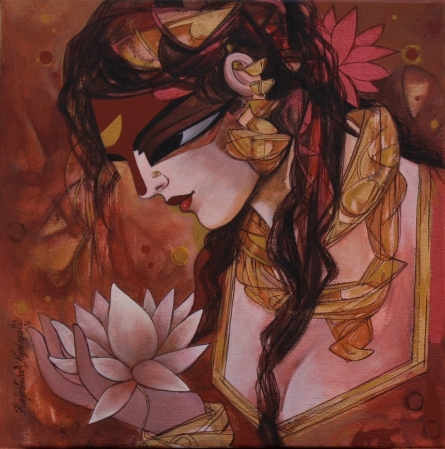 Figurative Acrylic Art Painting title 'Woman With Lotus' by artist Rajeshwar Nyalapalli