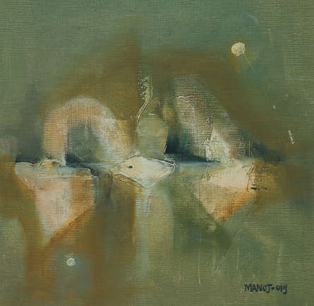 Abstract Oil Art Painting title 'Untitled 8' by artist Manoj Kajbale