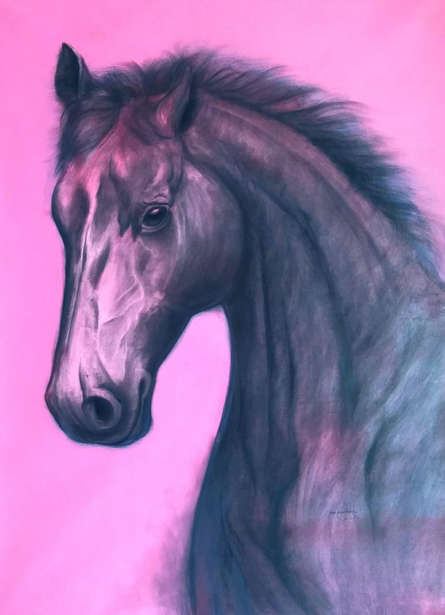 Animals Acrylic-charcoal Art Painting title Look Into My Eyes by artist Yashpal Kamble