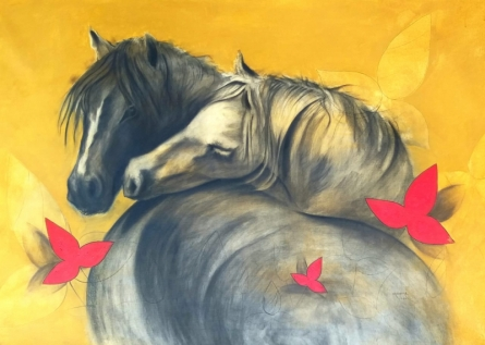 Animals Acrylic-charcoal Art Painting title 'Love 2' by artist Yashpal Kamble