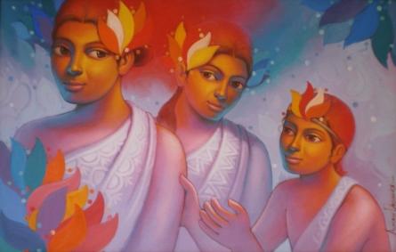 Figurative Acrylic Art Painting title 'Girls 1' by artist Avinash Deshmukh