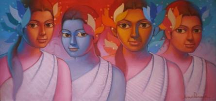 Figurative Acrylic Art Painting title 'Girls 2' by artist Avinash Deshmukh