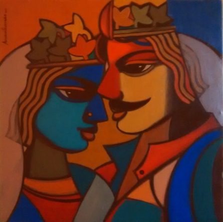 Figurative Acrylic Art Painting title 'King And Queen 10' by artist Avinash Deshmukh