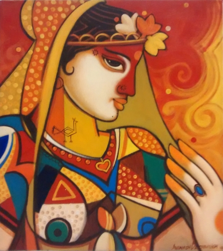 Figurative Acrylic Art Painting title Queen 1 by artist Avinash Deshmukh