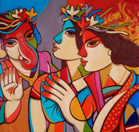 Religious Acrylic Art Painting title 'Queen 2' by artist Avinash Deshmukh