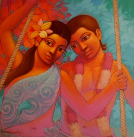Figurative Acrylic Art Painting title 'Vasant' by artist Avinash Deshmukh