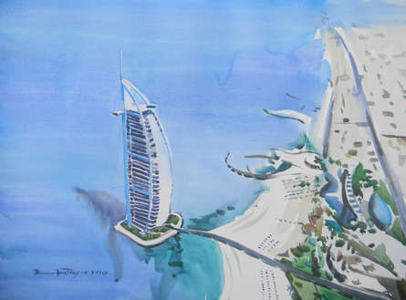 Cityscape Watercolor Art Painting title 'Burj Al Arab Dubai' by artist Bipul Roy
