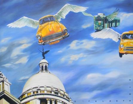 Fantasy Acrylic-oil Art Painting title 'Future Kolkata' by artist Bipul Roy