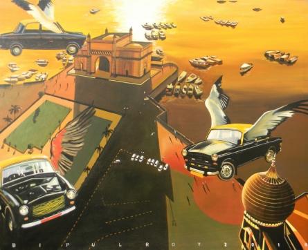 Fantasy Acrylic Art Painting title 'Future Mumbai' by artist Bipul Roy