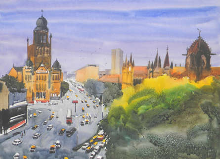 Cityscape Watercolor Art Painting title 'Mumbai' by artist Bipul Roy