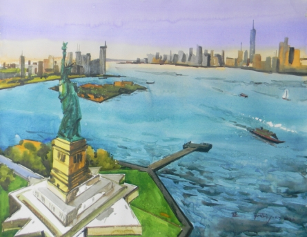 Cityscape Watercolor Art Painting title 'New York' by artist Bipul Roy