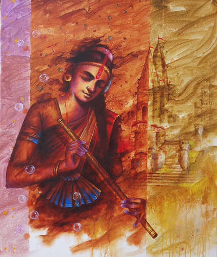 Religious Oil Art Painting title 'Banaras Beauty 1' by artist Pradeep Kumar