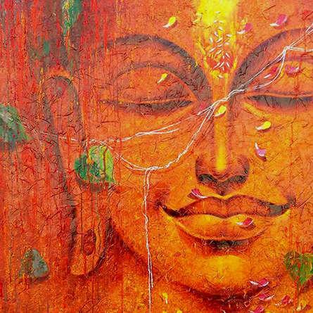 Religious Acrylic Art Painting title Buddha 2 by artist Pradeep Kumar