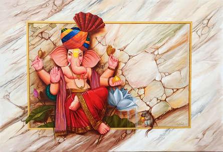 Religious Oil Art Painting title Laal Ganesha by artist Pradeep Kumar