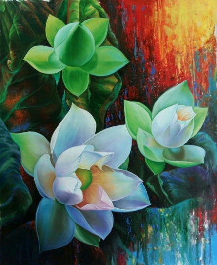 Nature Acrylic-oil Art Painting title 'Lotus 4' by artist Pradeep Kumar