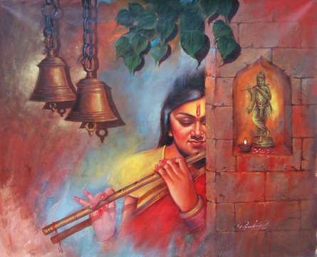 Religious Acrylic Art Painting title 'Murli Vala' by artist Pradeep Kumar