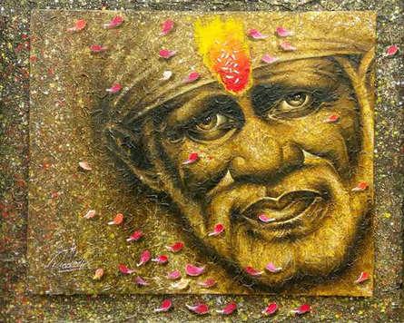Religious Acrylic Art Painting title 'Sai Baba' by artist Pradeep Kumar