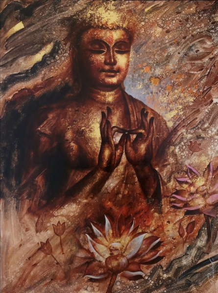 Religious Oil Art Painting title 'The Meditation' by artist Pradeep Kumar