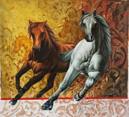 Animals Oil Art Painting title The Royal Winner Horse by artist Pradeep Kumar