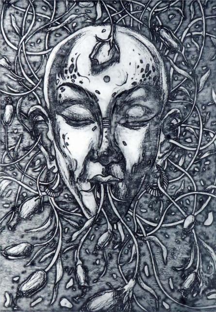 Prachi Sahasrabudhe | Creepers Printmaking by artist Prachi Sahasrabudhe | Printmaking Art | ArtZolo.com