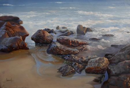 Sea Shore | Painting by artist Bijay Biswaal | acrylic | Canvas