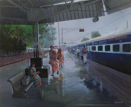 Scenic Acrylic Art Painting title Wet Platform by artist Bijay Biswaal