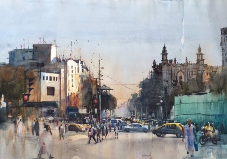 Regal Cinema | Painting by artist Bijay Biswaal | watercolor | Paper