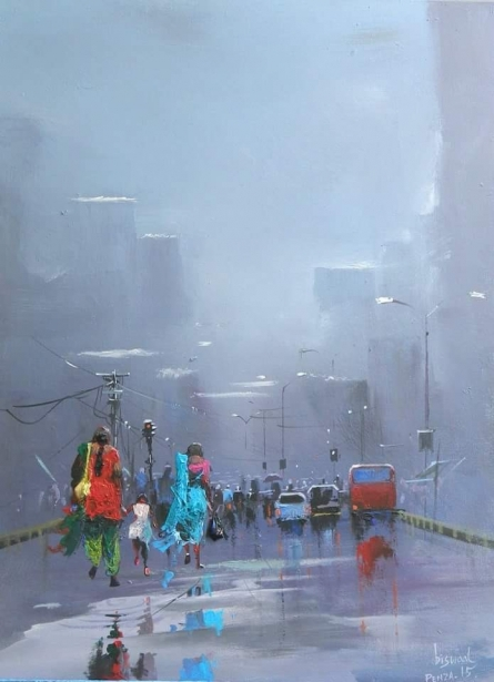 Cityscape Acrylic Art Painting title 'Rainy Day' by artist Bijay Biswaal