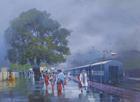 Cityscape Acrylic Art Painting title 'Wet Platform XI' by artist Bijay Biswaal