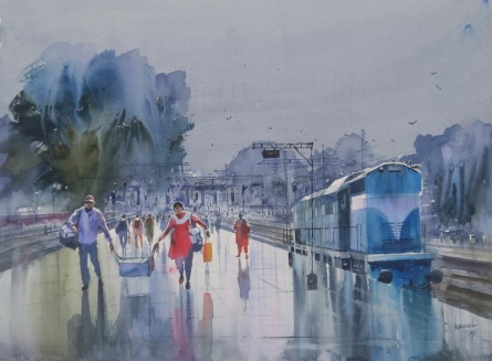 Cityscape Watercolor Art Painting title 'Wet Platform Pune' by artist Bijay Biswaal