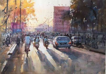 My City | Painting by artist Bijay Biswaal | watercolor | Paper
