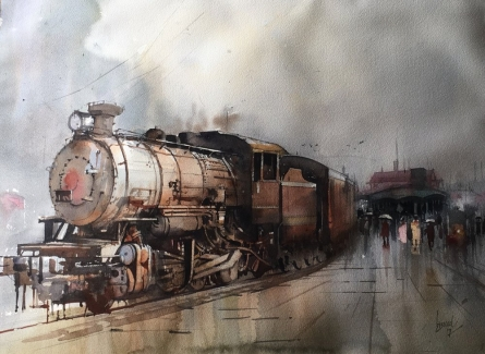 Cityscape Watercolor Art Painting title 'Wet Platform 15' by artist Bijay Biswaal