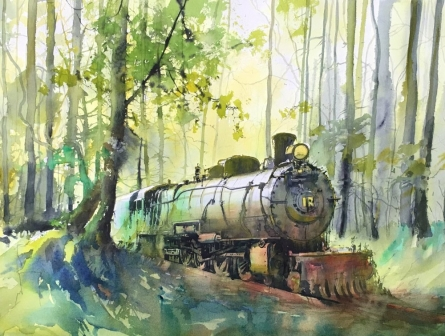 Bijay Biswaal Paintings | Watercolor Painting - Train passing through Nature by artist Bijay Biswaal | ArtZolo.com